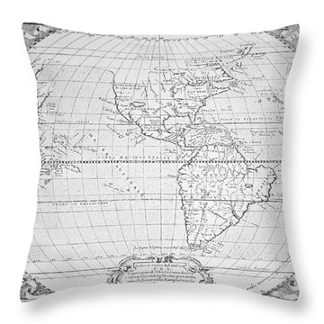 Map Of The New World 1587 Throw Pillow by Richard Hakluyt
