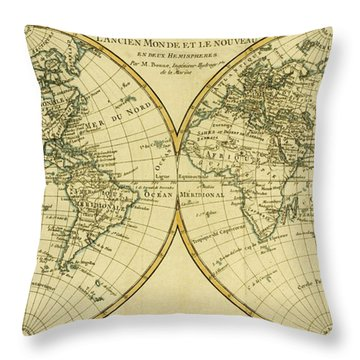 Map Of The World In Two Hemispheres Throw Pillow by Guillaume Raynal