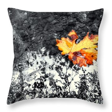 Maple Leaf Selective Color Throw Pillow