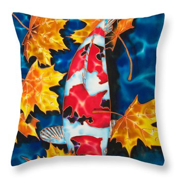 Maple Leaves And Koi Throw Pillow by Daniel Jean-Baptiste