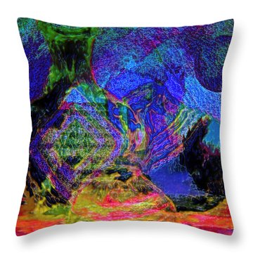 Throw Pillow featuring the painting Mapped In Time  Pottery Collection by Sherri  Of Palm Springs