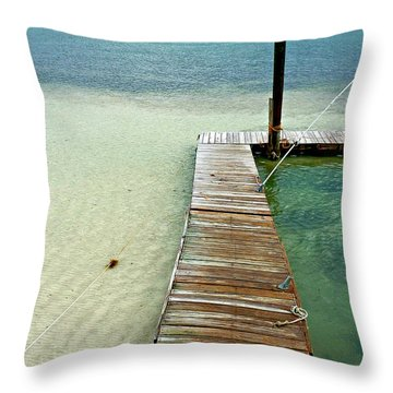 Marathon Dock Florida Keys Throw Pillow by Jo Sheehan