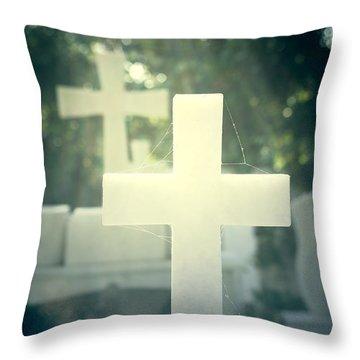 Marble Crosses Throw Pillow by Joana Kruse