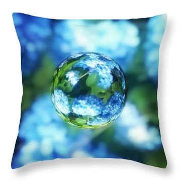 Marbled Blue Hydrangea Throw Pillow