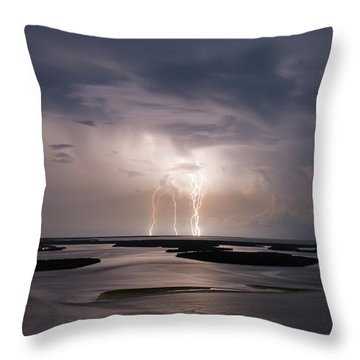 Marco Lightning Throw Pillow by Nick  Shirghio