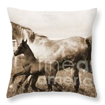 Mare And Foal Throw Pillow by Vonda Lawson-Rosa