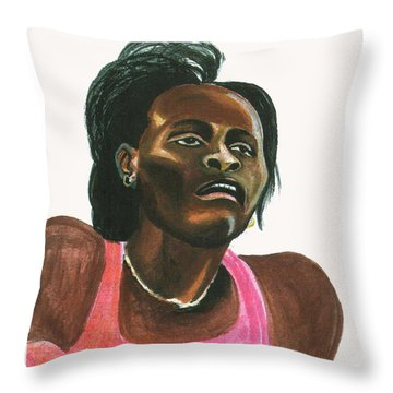 Maria Mutola Throw Pillow by Emmanuel Baliyanga