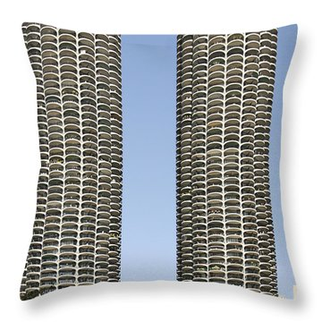 Marina City Chicago - Life In A Corn Cob Throw Pillow by Christine Till