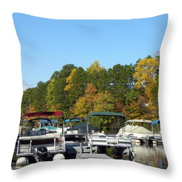 Marina In Fall Throw Pillow by Sandi OReilly