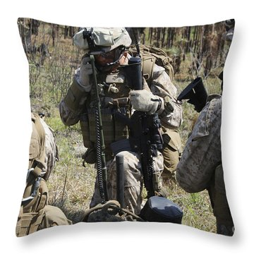 Marines Communicate With Other Elements Throw Pillow by Stocktrek Images