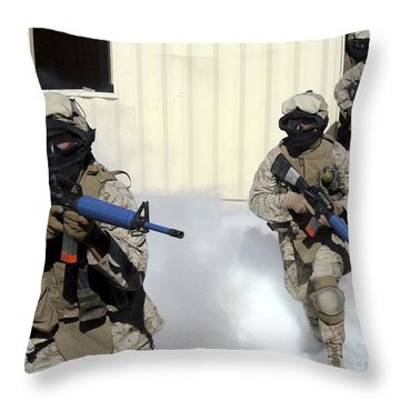 Marines Cross A Danger Area After Using Throw Pillow by Stocktrek Images