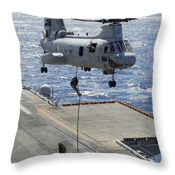 Marines Perform Fast-rope Training Throw Pillow