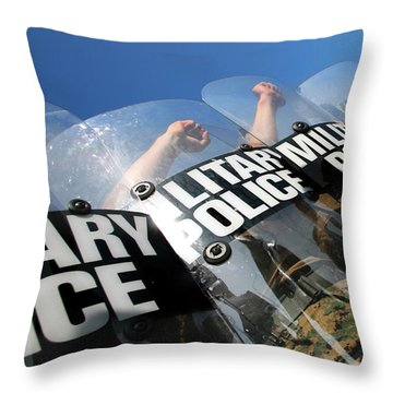 Marines Practice Riot Control Throw Pillow by Stocktrek Images