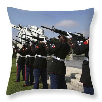 Marines Practices Drill Movements Throw Pillow by Stocktrek Images