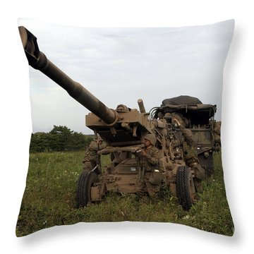 Marines Set Up A M198 155mm Howitzer Throw Pillow by Stocktrek Images