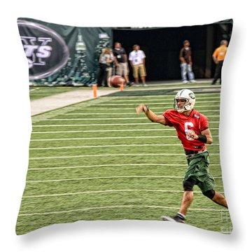 Mark Sanchez Ny Jets Quarterback Throw Pillow by Paul Ward