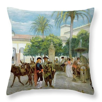 Market Day In Spain Throw Pillow by Filippo Baratti