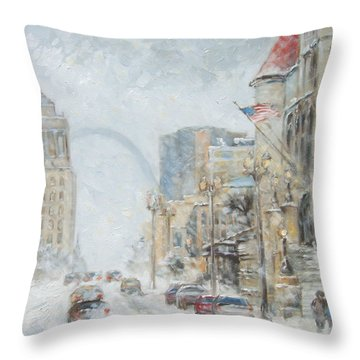 Market Street In Winter In St.louis Throw Pillow
