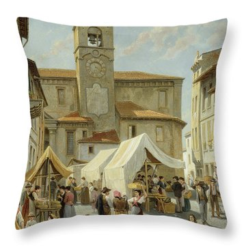 Marketday In Desanzano  Throw Pillow by Jacques Carabain