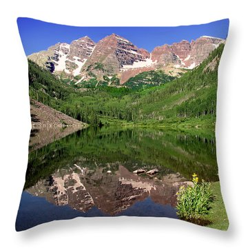 Maroon Bells Shoreline Throw Pillow