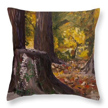 Marr Park Trees Of Fall Throw Pillow by Art Hill Studios