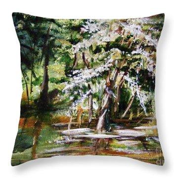 Throw Pillow featuring the painting Marsh Tide by Karen  Ferrand Carroll