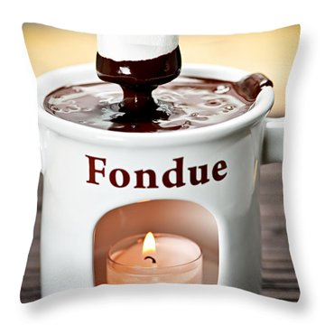 Marshmallow Dipped In Chocolate Fondue Throw Pillow by Elena Elisseeva