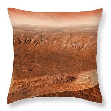 Martian Gullies In Noachis Terra, Mars Throw Pillow by Steven Hobbs