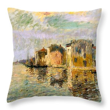 Martigues In The South Of France Throw Pillow by Gustave Loiseau