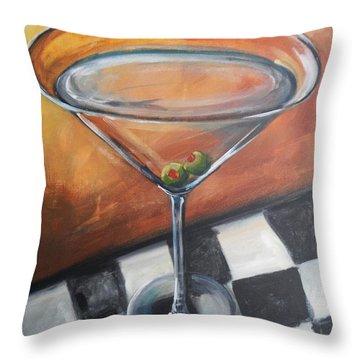 Martini On Checkered Tablecloth Throw Pillow