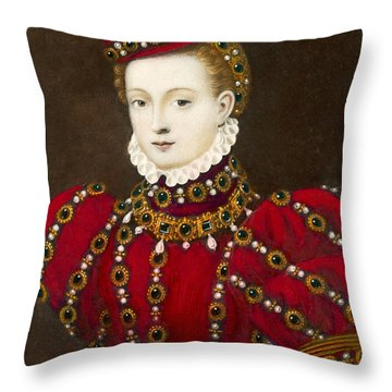 Mary Queen Of Scots Throw Pillow by Mary Evans Picture Library and Photo Researchers