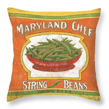 Maryland Chef Beans Throw Pillow by Debbie DeWitt