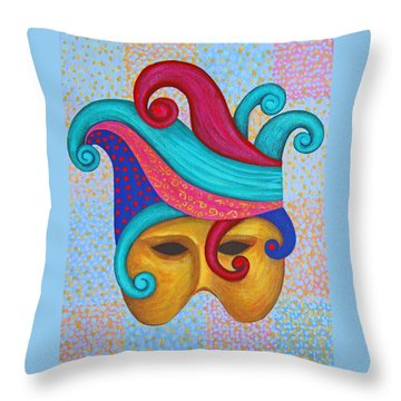 Mask With  Head Dress Throw Pillow