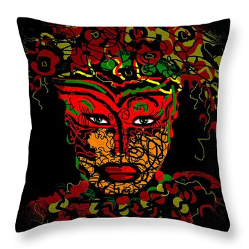 Masked Beauty Throw Pillow by Natalie Holland