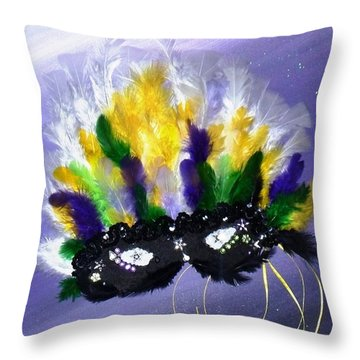 Throw Pillow featuring the painting Masque Over Bourbon Street by Alys Caviness-Gober