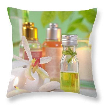 Massage Spa Concepts Throw Pillow by Atiketta Sangasaeng