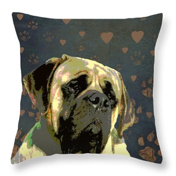 Mastiff Throw Pillow by One Rude Dawg Orcutt