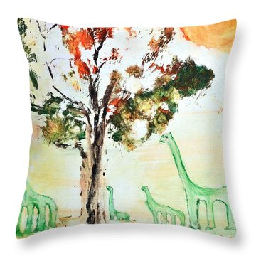 Matei's Dinosaurs Throw Pillow by Evelina Popilian