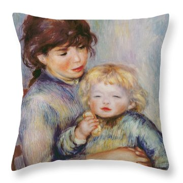 Maternity Or Child With A Biscuit Throw Pillow by Pierre Auguste Renoir