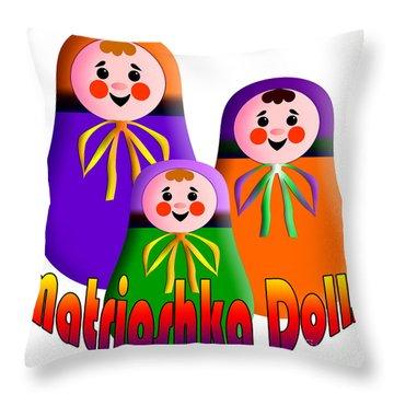 Matrioshka Dolls Throw Pillow by Zaira Dzhaubaeva