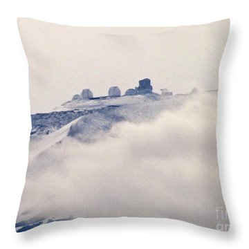 Mauna Kea Observatories With Snow Throw Pillow by Bette Phelan