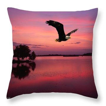 Throw Pillow featuring the photograph Mauve Sundown Eagle  by Randall Branham