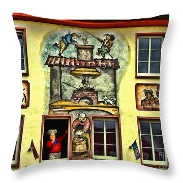 Max And Moritz Throw Pillow by Joan  Minchak