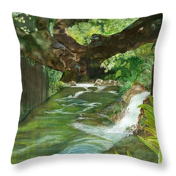 Throw Pillow featuring the painting Maya Ubud Tree Bali Indonesia by Melly Terpening