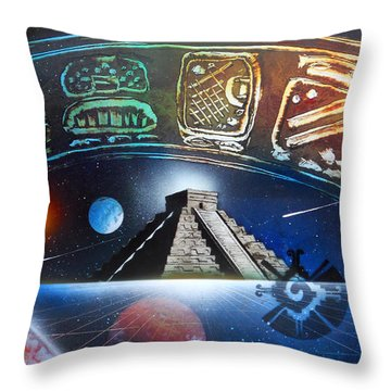 Mayans 2012 Masters Of Time Throw Pillow by Angel Ortiz