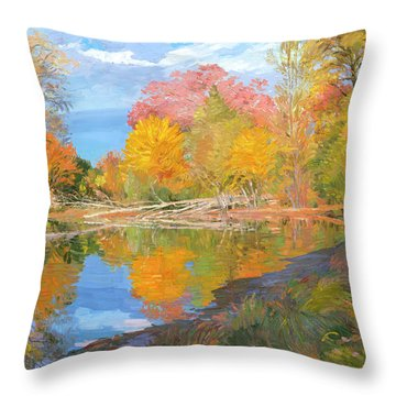 Mayslake At Fall Throw Pillow by Judith Barath