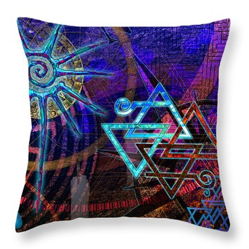 Throw Pillow featuring the digital art Mazes by Kenneth Armand Johnson