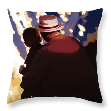 Me And Papa - 4th Of July Throw Pillow by Angela Rath