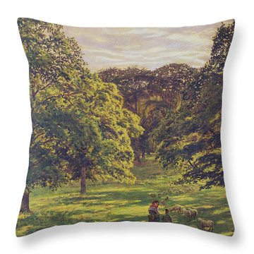 Meadow Scene  Throw Pillow by John William Buxton Knight