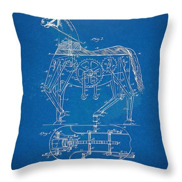 Mechanical Horse Toy Patent Artwork 1893 Throw Pillow
